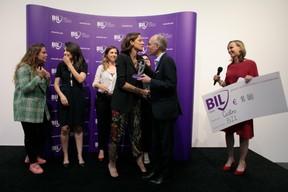 Ilana Devillers (Food4All), Aida Nazarikhorram (LuxAI), Elfy Pins (Supermiro), Luc Frieden (président du conseil d'administration de la Bil) et Karin Scholtes (Bil). ((Photo: Matic Zorman))