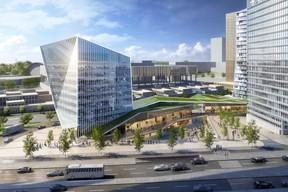 L'audacieuse silhouette de la tour dédiée aux bureaux est séparée de la tour résidentielle par un centre commercial qui sera inauguré le 12 décembre prochain. ((Visuel: Immobel))