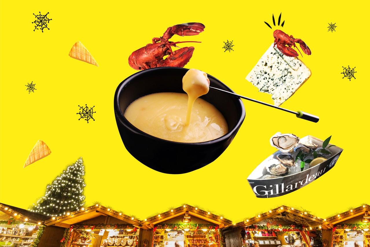 De la fondue, du homard, des huîtres ou du fromage: la gourmandise est de mise dans les chalets de restaurateurs! (Design : Marie Königsdorfer / Maison Moderne)