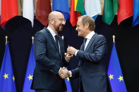 CharlesMichel (à gauche) reprend une mission à laquelle DonaldTusk a su donner de l'importance en cinq ans. (Photo: Twitter/Charles Michel)