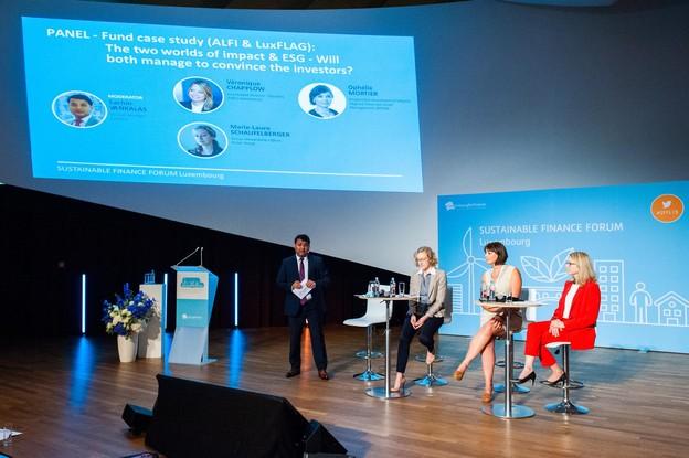 Sachin Vankalas (Luxflag), Véronique Chapplow (M&G Investments), Ophélie Mortier (Degroof Petercam AM) et Marie-Laure Schaufelberger (Pictet). (Photo: LaLa La Photo, Keven Erickson, Krystyna Dul)