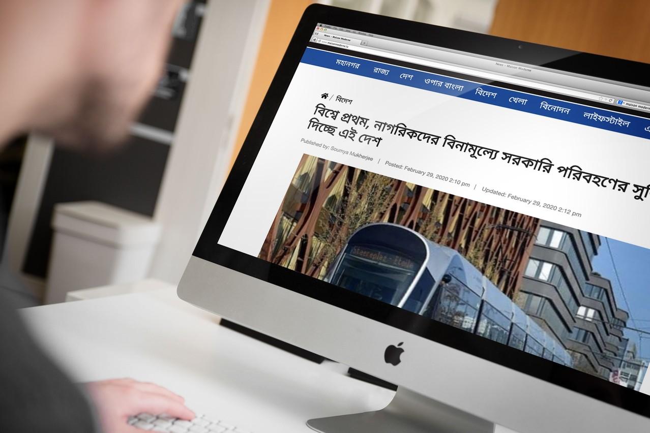 La mise en place de la gratuité des transports a intéressé la presse internationale, y compris les quotidiens asiatiques, comme le site indien Sangbad Pratidin. (Photo: Sangbad Pratidin / Capture d'écran)