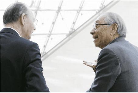 I.M. Pei avec le Grand-Duc Jean, lors d'une visite au musée qui porte le nom du souverain décédé le 23 avril dernier. (Photo: Blitz / Mudam / archives)