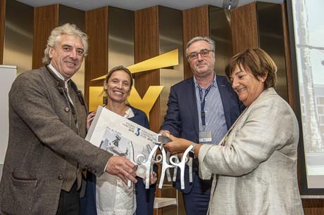 François Valentiny, Daniela Flor, Bruno Dursin et Michèle Detaille lors de la remise des prix du Concours Construction Acier2019. (Photo: Gilles Martin)