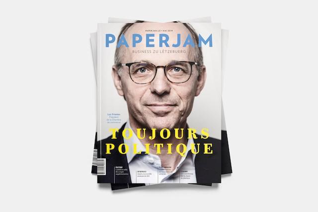 Luc Frieden, nouveau président de la Chambre de commerce, en couverture du Paperjam de mai 2019. (Photo: Maison Moderne)