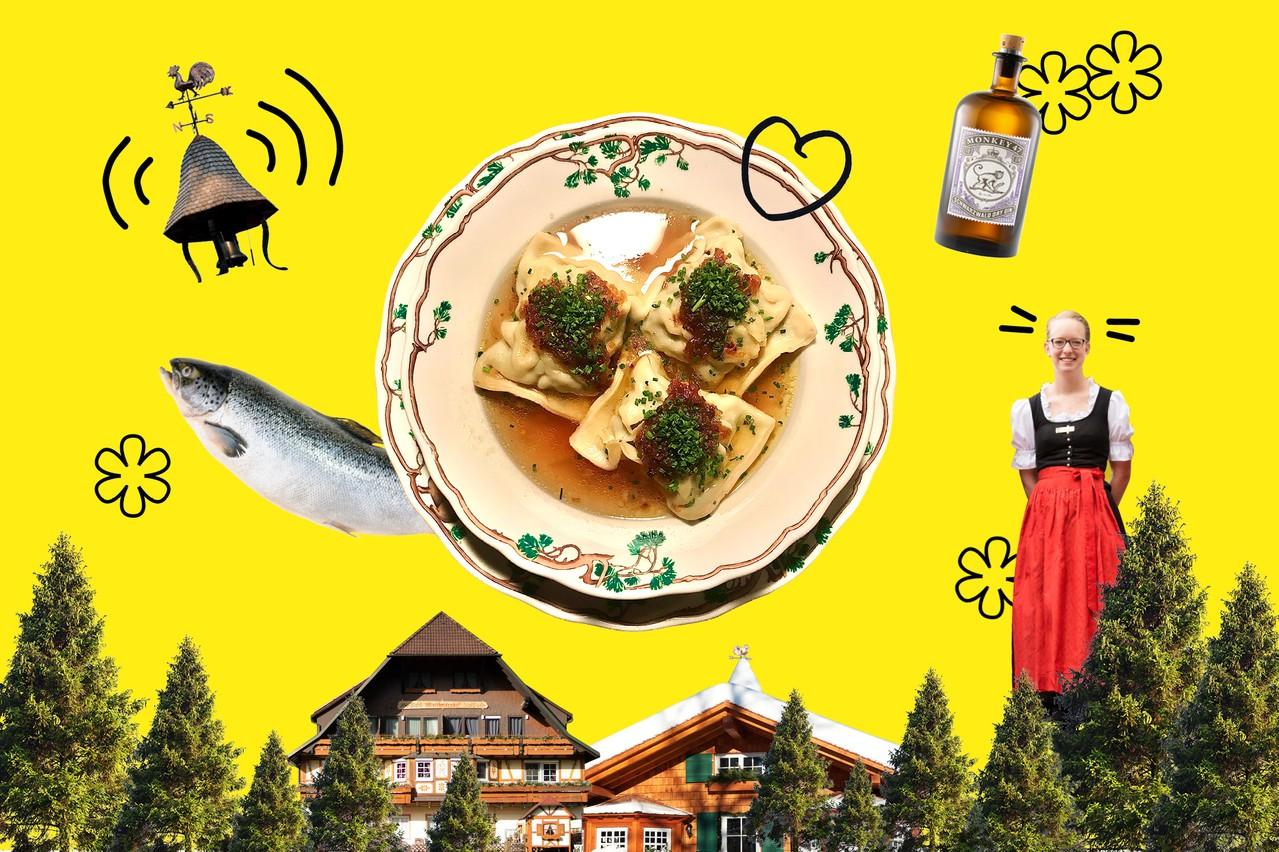 De belles collines arborées, un paysage protégé, des villages typiques, des restaurants étoilés, du calme, du luxe et de la volupté sont les atouts touristiques de la Forêt-Noire. (Design : Eva Pontini / Maison Moderne)