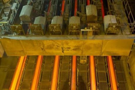 Le format d'ébauche de poutrelle B4 est produit dans le brin à l'extrême gauche. (Photo : Charles Caratini)
