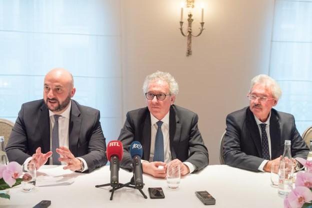 Étienne Schneider, Pierre Gramegna et Jean Asselborn. Les trois ministres ont tenu une conférence de presse commune en marge de la visite de l'importante délégation luxembourgeoise en France. (Photo: SIP - Charles Caratini)