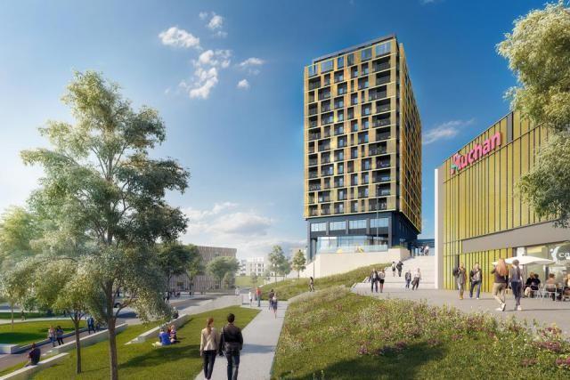 La nouvelle tour comporte 14 étages et sera parée de doré. (Illustration: Moreno Architecture & Associés)