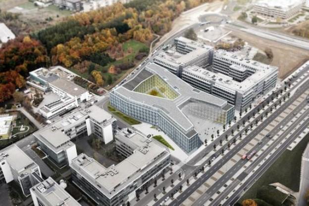 Le futur bâtiment EY, en perspective aérienne, bien intégré au plateau du Kirchberg. (Illustration: EY / Sauerbruch Hutton International)