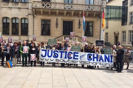 Manifestation de soutien à Chani organisée par son comité devant la Chambre des députés ce lundi. (Photo: DR)