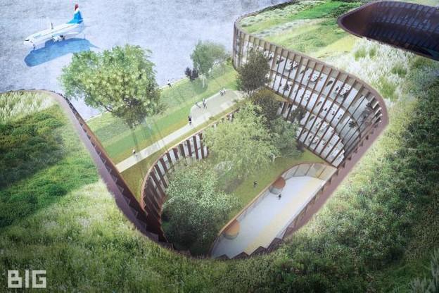 Prévu pour atteindre quatre étages, le futur immeuble de bureaux doit permettre à ses occupants d'avoir une vue sur la piste et sur des espaces verts. (Photo: Bjarke Ingels Group )