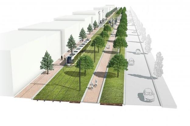 L'avenue Kennedy connaîtra prochainement quelques aménagements pour devenir un peu plus encore une avenue urbaine. (Photo: Fonds Kirchberg)