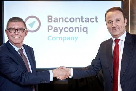 Ivo de Meersman, président du conseil d'administration de Payconiq Belgium, et Michael Anseeuw, président du conseil d'administration de Bancontact Company. (Photo: Bancontact Payconiq Company)