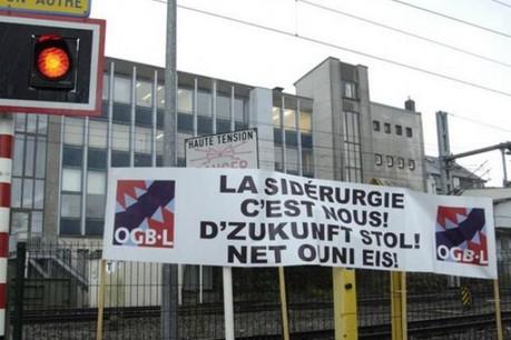 Rodange/Schifflange à l'arrêt, l'Etat rappelle ArcelorMittal à ses obligations. (Photo: OGBL)