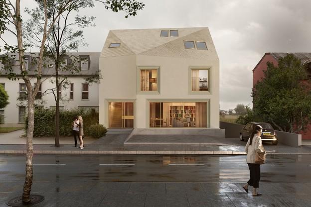 La résidence se présente côté rue comme une maison de village, mais avec un caractère plus contemporain. (Illustration: Dagli And)