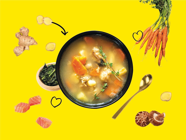 Du gingembre, des carottes, du kale, du saumon bio... Les chefs luxembourgeois confient quelques bonnes recettes pour se remettre des fêtes comme il se doit... (Design : Maison Moderne)