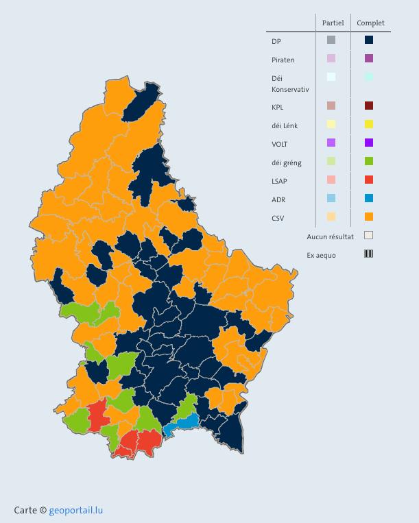 Le CSV est majoritaire dans le nord du pays, le DP dans le centre et le sud. (Photo: www.elections. public.lu)