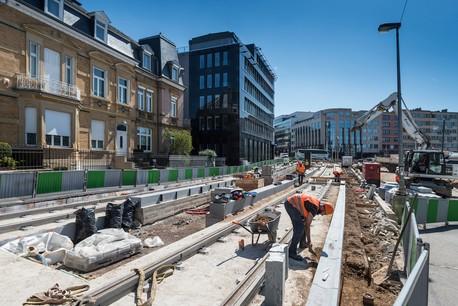 Les travaux du tramway place de l'Étoile. (Photo: Anthony Dehez)