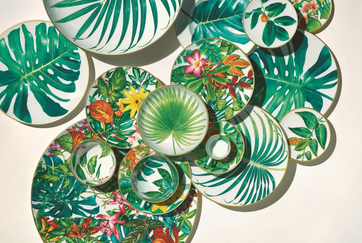 Le service de table Passifolia d'Hermès est un hommage à la flore tropicale. (Photo: Audrey Corregan)